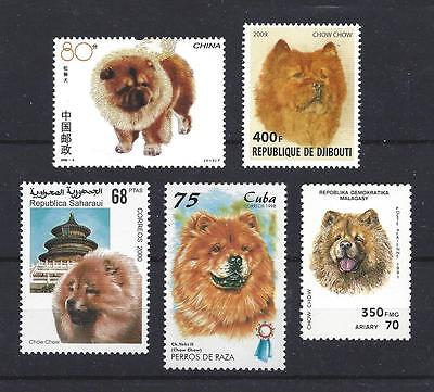Dog Art & Photo Head Study Portrait Postage Stamp Collection CHOW CHOW 5 x MNH