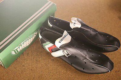 Vintage NOS NEW Vigorelli black perforated leather road cycling shoes L'eroica