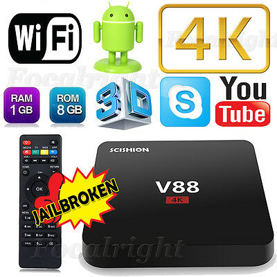 New V88 Android 5.1 Smart 4K TV Box Quad Core Fully Loaded Media Player