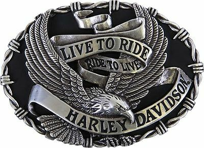 Harley Davidson Mens Eagle Banner with Barbed Wire Buckle