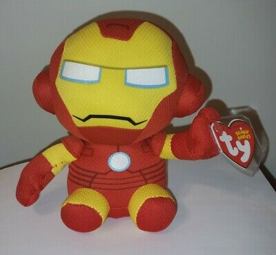 "Ty Beanie Baby - IRON MAN (Marvel) 6"" - MWMTS ~ Stuffed Animal Toy"