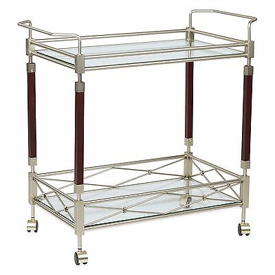 Melrose Serving cart with clear tempered glass and nickel brush frame