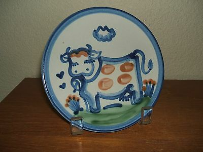 """Ma Hadley Pottery Country Scene Blue 6""""  Cow Bread & Butter Plate"""