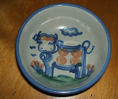 Ma Hadley Pottery Country Scene Blue Cow Cereal Bowl