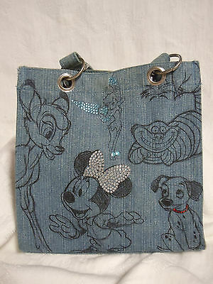 Disney Store Character Sketches Denim Purse Bag CHESHIRE CAT MINNIE MOUSE BAMBI