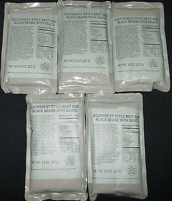 Lot of 5 Southwest Style Beef, Black Beans MRE Entrees, Meals Ready to Eat