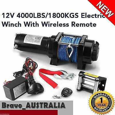 Wireless Electric Winch 12V 4000LBS / 1800KGS Synthetic Rope ATV 4WD Boat