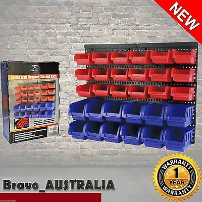 30 Workshop Small Parts Storage Bins Organiser Box Wall Mounted Shed Trays Rack