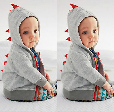 Fashion Toddler Baby Boy Dinosaur Zipper Long Sleeve Tops Jacket Coat Hoodie NEW