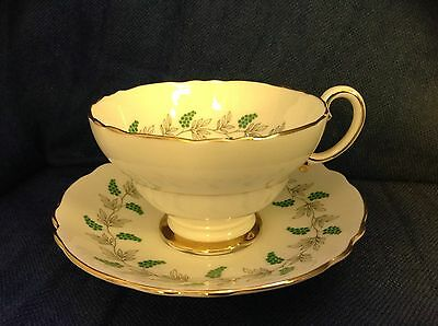 Tea Cup & Saucer, Crown Staffordshire Bone China Made In England Green Flowers