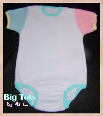 Adult Baby White w/pink-blue Fleece onesuit   *Big Tots by MsL*