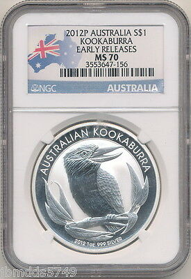 2012 P $1 Silver Australian Kookaburra  Ngc Ms 70 Early Releases Perfect Coin