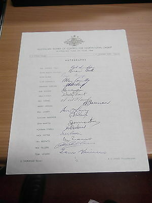Australian Cricket Team Tour to England 1964 - Signed by all 17