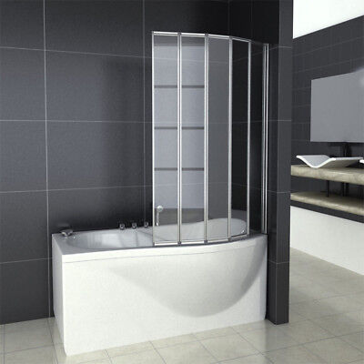 Aica 4/5 Fold Over Bath Folding Shower Screen Electrophoresis white Glass Panel