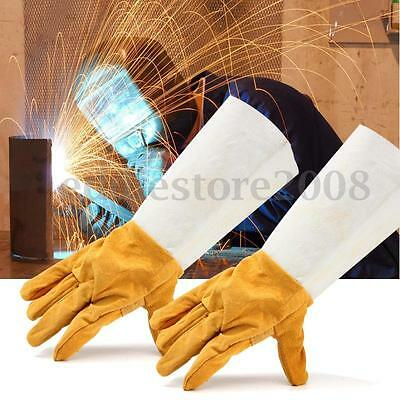 Long Leather Welding Gloves Heat Shield Cover Protective Safety Wear Yellow