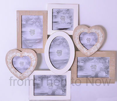 Chic Shabby Large 7 Multi Collage Wooden Photo Picture Frame Cream Natural Heart