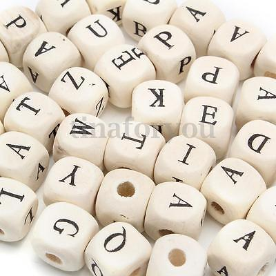 100 X Natural Mixed Wooden Alphabet Letter Cube Craft Charms Beads 10 mm