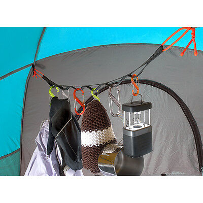 NITE IZE GEARLINE 2 FOOT TENT ORGANIZER with 2 GEAR TIES & 6 S BINERS CAMPING