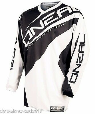 O'neal ONEAL Element adult motocross jersey wht/blk LARGE 0024-104