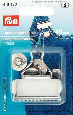 Prym 40mm Dungarees/Overall Fittings- 2 Clips & Buttons,Silver Coloured