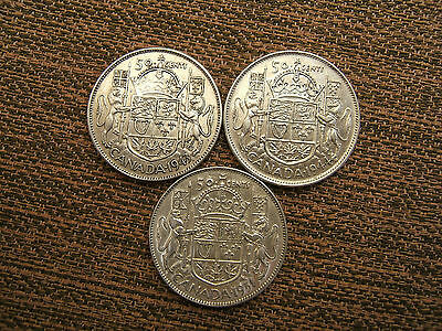 Three  Canadian George Vi  Silver Fifty Cent Coins.  1943/44/51              N.s