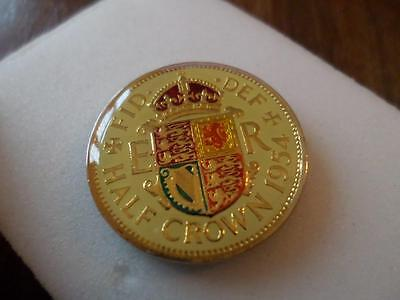 Vintage Enamelled Half Crown Coin. Birthday Present. Christmas Gift. Lucky Charm
