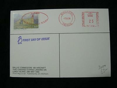 Lundy Stamp Used On 1994 Postcard