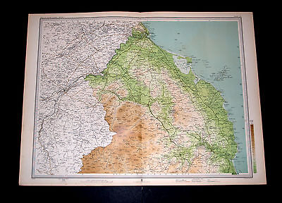 Antique BERWICK AND ALNWICK Survey Map 12 by Bartholomew for RGS 1903