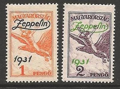Hungary Sg529/30 1931 Air Stamps Overprinted Zeppelin Mtd Mint