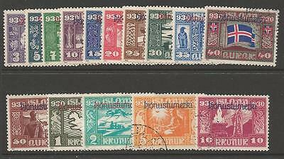 Iceland Sgo174/88 1930 Parliamentary Commemoratives Overprinted Fine Used