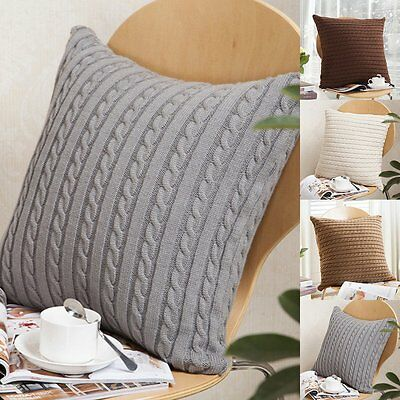 18'' Soft Knitted Throw Pillow Cases Home Decorative Cushion Cover Square Pillow