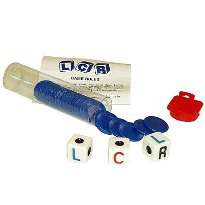 Left Right Center LRC Dice Game - Family Party - Blue Chips  LCR