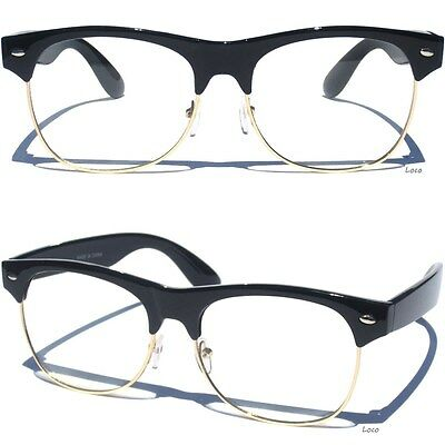 RETRO Half Top Brow Frame CLEAR LENS GLASSES Hipster Cool Nerdy Style BLACK New