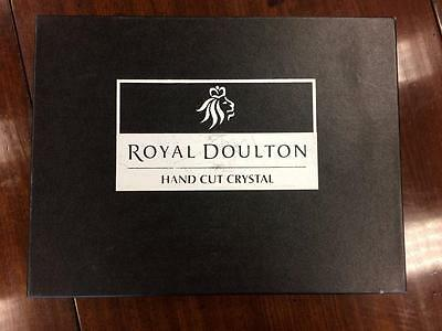 Set Of Six Vintage Royal Doulton Hand Cut Crystal Glass Whiskey Glasses (Boxed)
