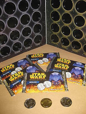 24 Packs Star Wars Medalionz Collectors Coins & Storage Binder Revenge Of Sith