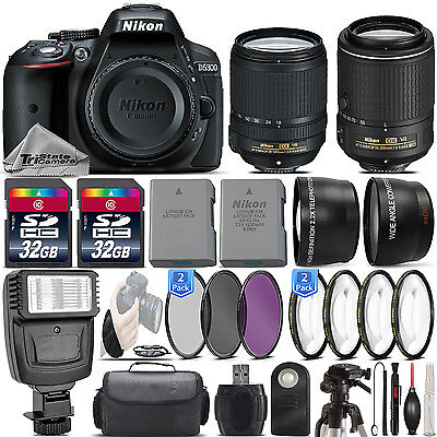 Nikon D5300 24.2MP DSLR Camera + 18-140mm VR Lens + 55-200mm VR II - 64GB Kit