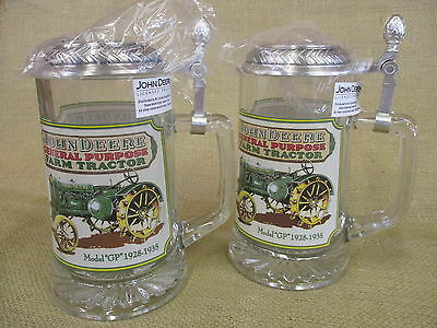 2 John Deere Glass Beer Steins With Pewter Lid - New        A