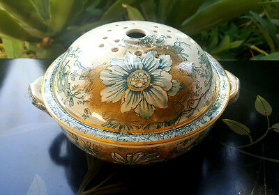 Antique Boote China EM & Co Passion Flower Covered Vegetable Dish Greyhound