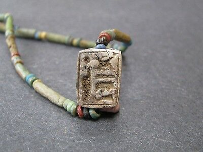 NILE  Ancient Egyptian Scarab New Kingdom Amulet Mummy Bead Necklace ca 1000 BC