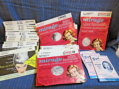 VTG HAIR NET LOT 47 PKG.HUMAN HAIR 1920s-40s UNUSED IN PACKAGE VARIOUS STYLES