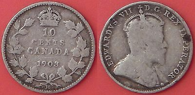 Good 1903H Canada Silver 10 Cents