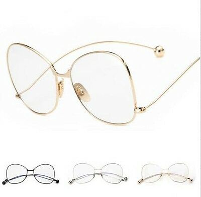 Vintage Fashion Oversized Clear Lens Glasses Metal Frame Nerd Geek Eyewear New