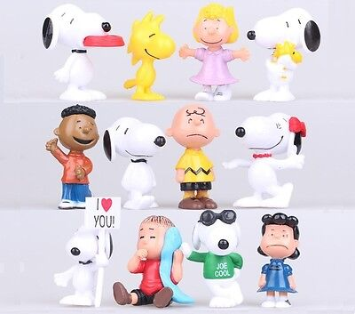 SNOOPY Peanuts Charlie Brown Playset 12 Figure Cake Topper * USA SELLER* Toy Set