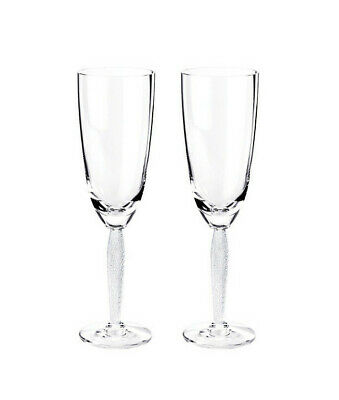 New Lalique Louvre #1733800 Champagne Flute Glasses Set Of Two Bnib Crystal F/Sh