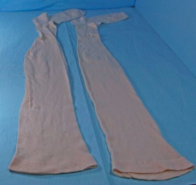 OLD ANTIQUE EARLY 1900's FLESH/BEIGE COLOR COTTON LONG GARTER STOCKINGS