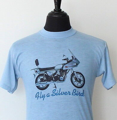 vtg 70s YAMAHA fly a silver bird SOFT THIN motorcycle T SHIRT small DOHC 750
