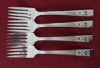 "Community Silverplate CORONATION Lot of 4 6 1/4"" Salad Dessert FORKS"