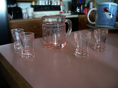 Mosser miniature Jennifer Cameo Ballerina pink pitcher and 4 tumblers