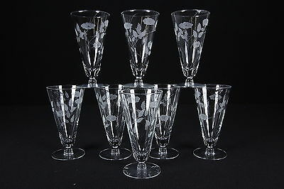 8 Cut Etched Parfait Style Drinking Glasses Stems Trailing Morning Glory Pattern