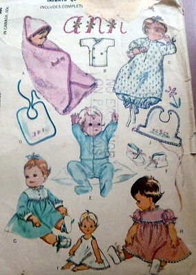 LOVELY VTG INFANTS LAYETTE McCALLS Sewing Pattern